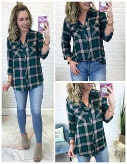 S / Green Just Plaid Fun Top - Madison + Mallory