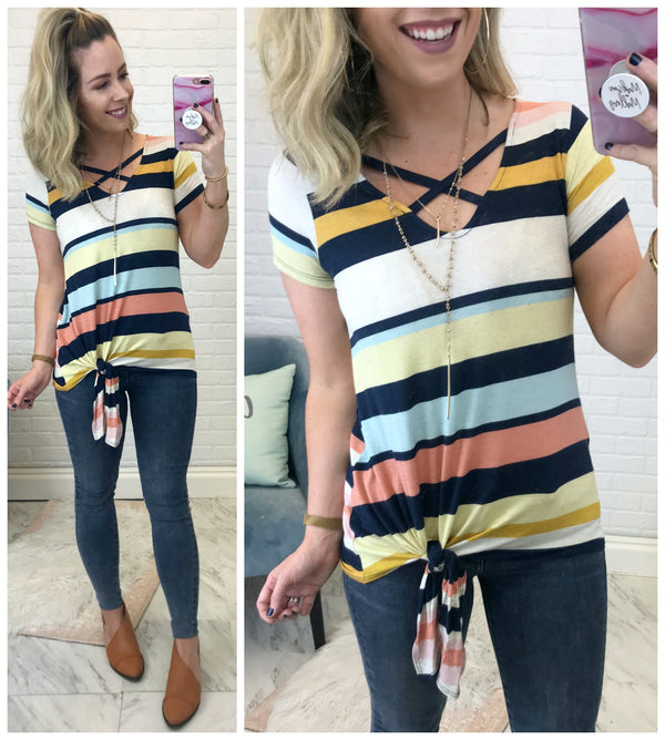 Cross Your Mind Striped Top - Madison + Mallory