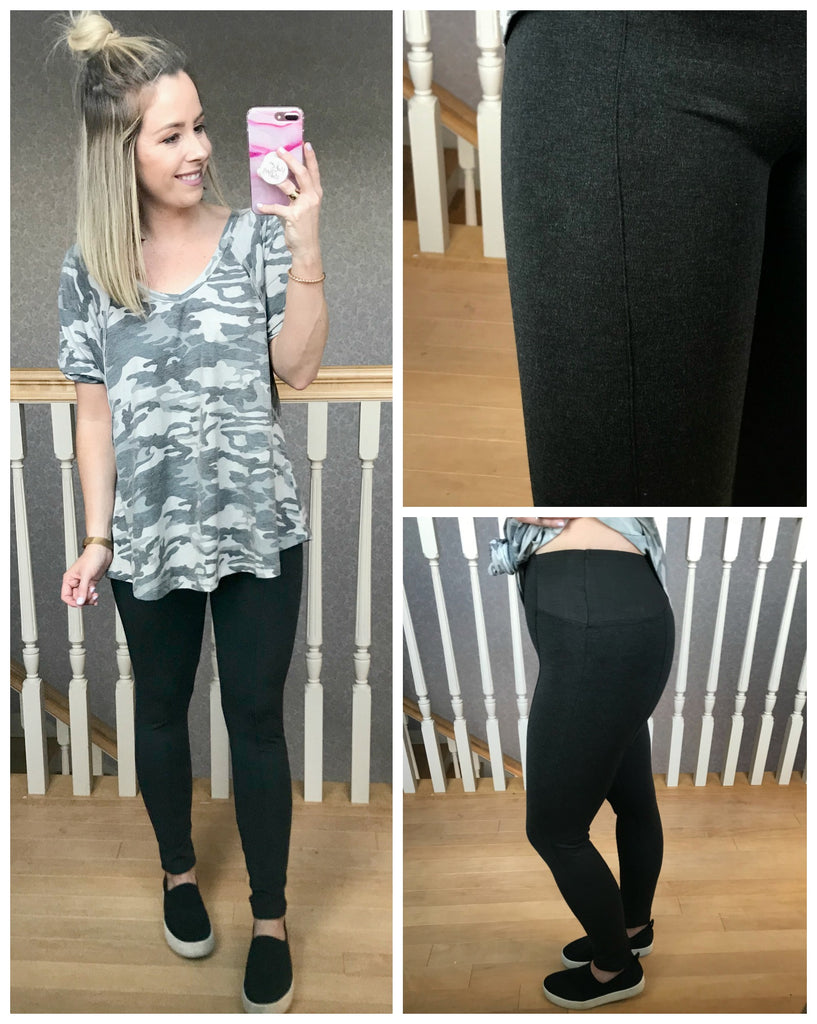 Wide Waistband Ponte Leggings - Madison + Mallory