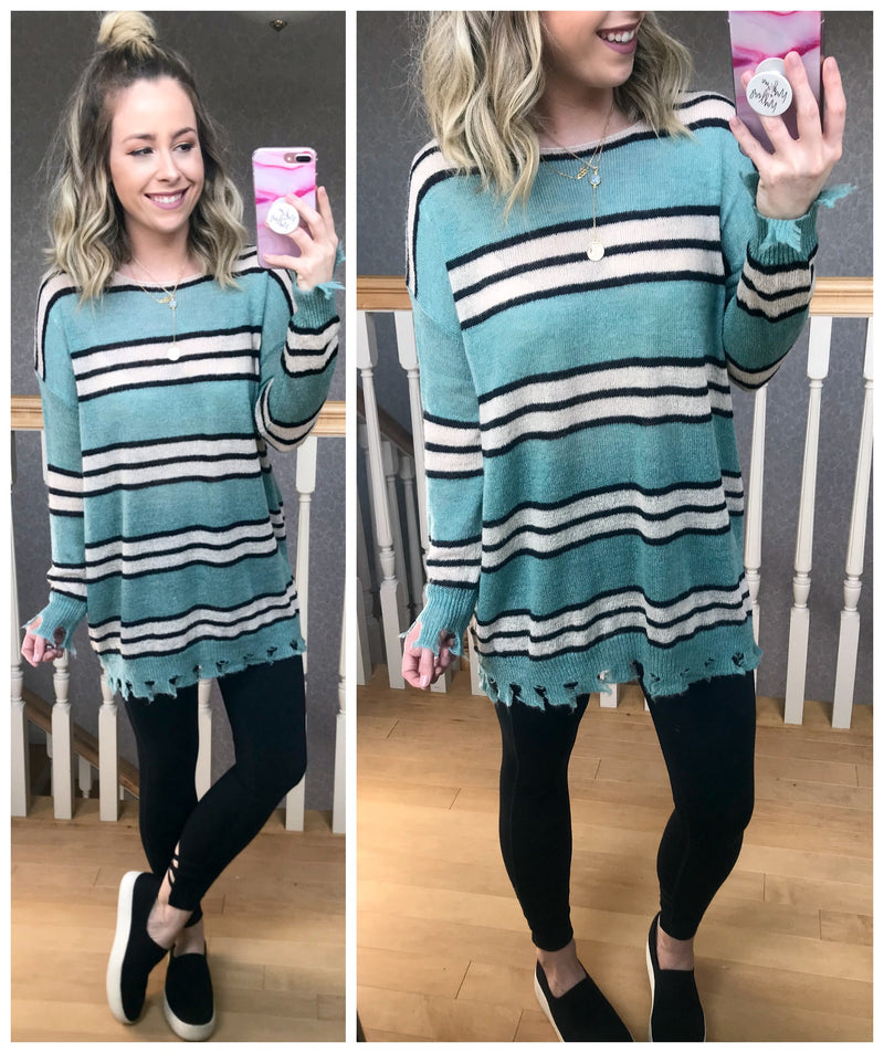Stay Awhile Striped Sweater - Madison + Mallory