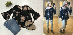 S / Black Floral Print Ruffled Bell Sleeve Top - Madison + Mallory