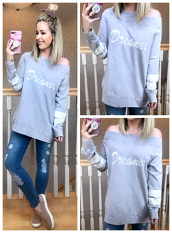 75b5dbc2d7f7 Off Shoulder Dreamer Pullover – Madison + Mallory