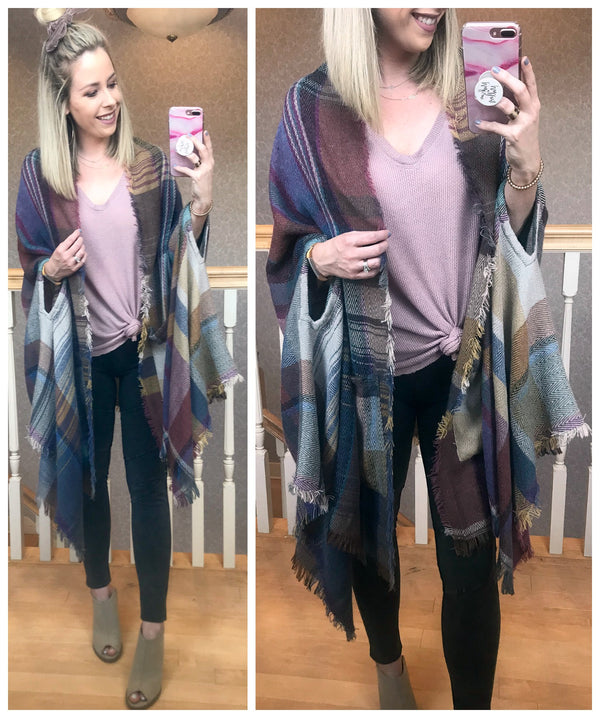 Plaid Pocket Poncho - Madison + Mallory