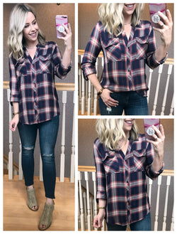S / Navy Just Plaid Fun Top - Madison + Mallory