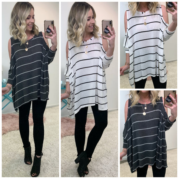 Wake Cold Shoulder Striped Tunic - Madison + Mallory