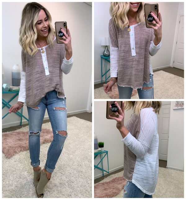 Talk Later Contrast Henley Top