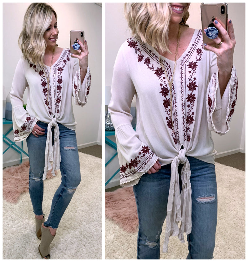 Monica Embroidered Top - Madison + Mallory