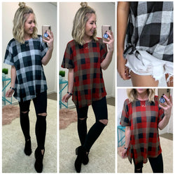 Davin Plaid Slit Hem Top - Madison + Mallory