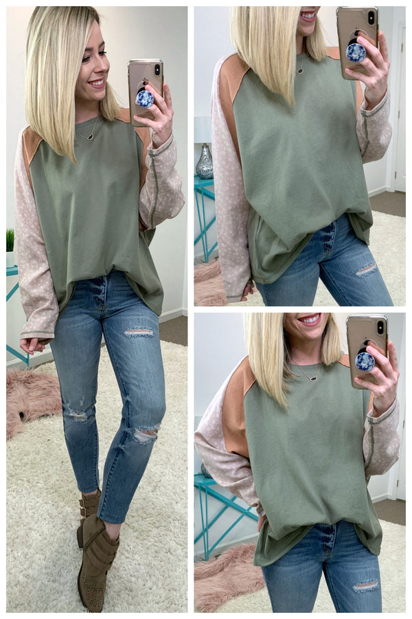 Color Blocked Terry Knit Tunic