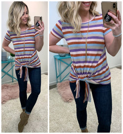 Turn Around Striped Tie Top - Madison + Mallory
