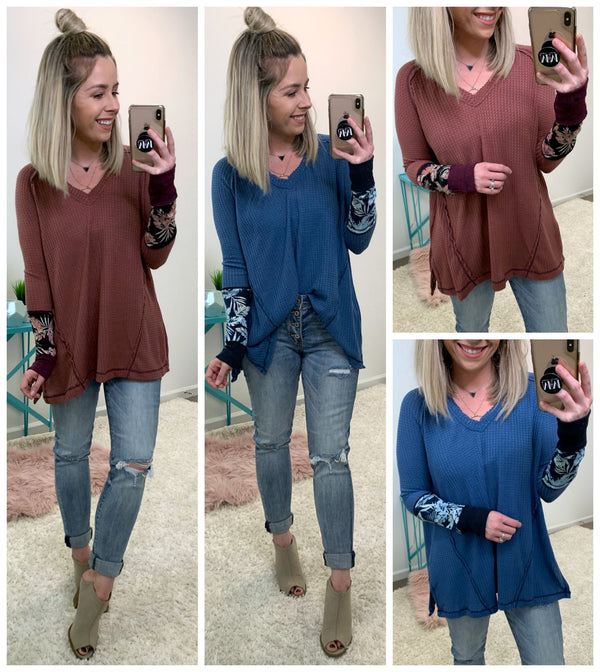 Preslee Waffle Knit Contrast Top - Madison + Mallory