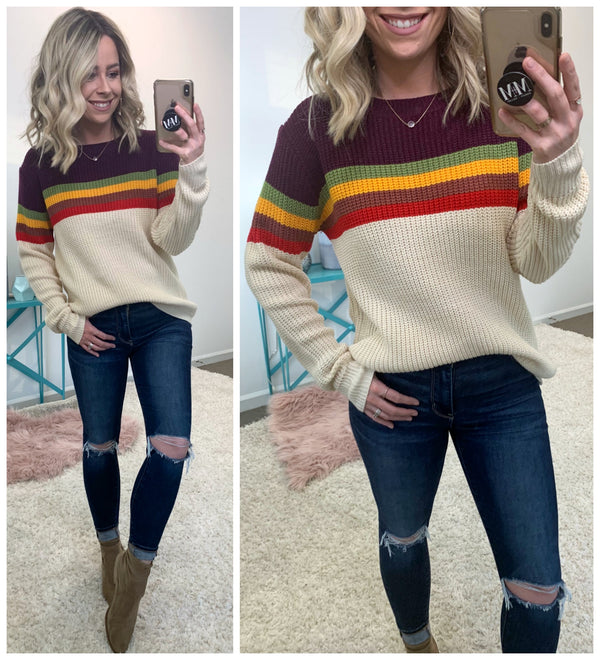 Zeina Multi Striped Sweater - Madison + Mallory
