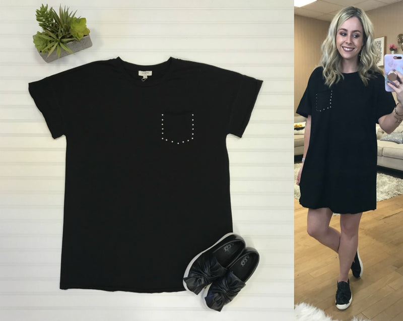 S / Black Studded Pocket T-Shirt Dress - Madison + Mallory