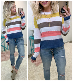 Big Reputation Multicolor Striped Sweater - Madison + Mallory