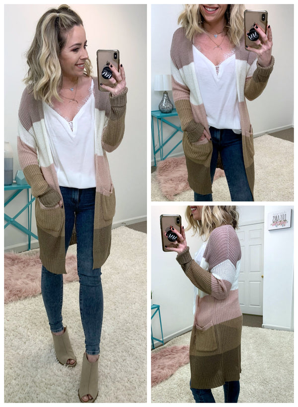 Lasting Style Color Block Cardigan - Madison + Mallory
