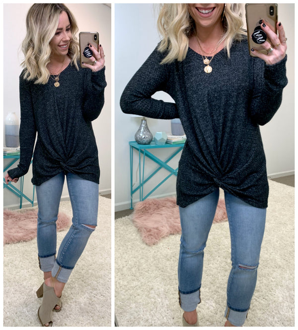 Kenly Thermal Twist Front Top - Madison + Mallory