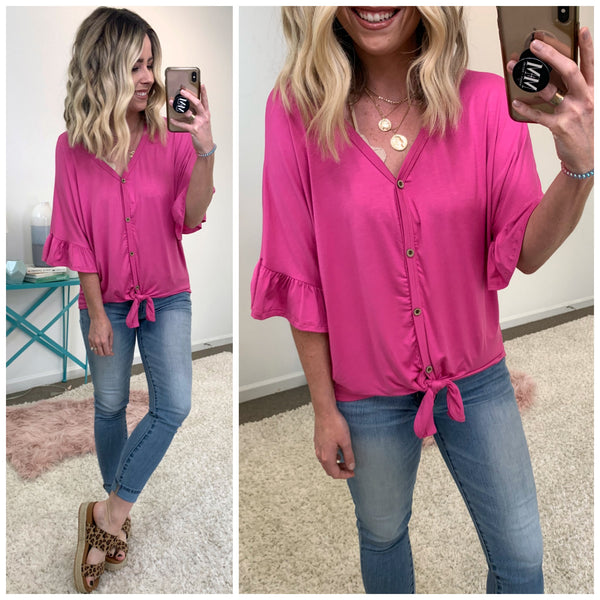 Can't Top Me Ruffle Sleeve Tie Top - Madison + Mallory