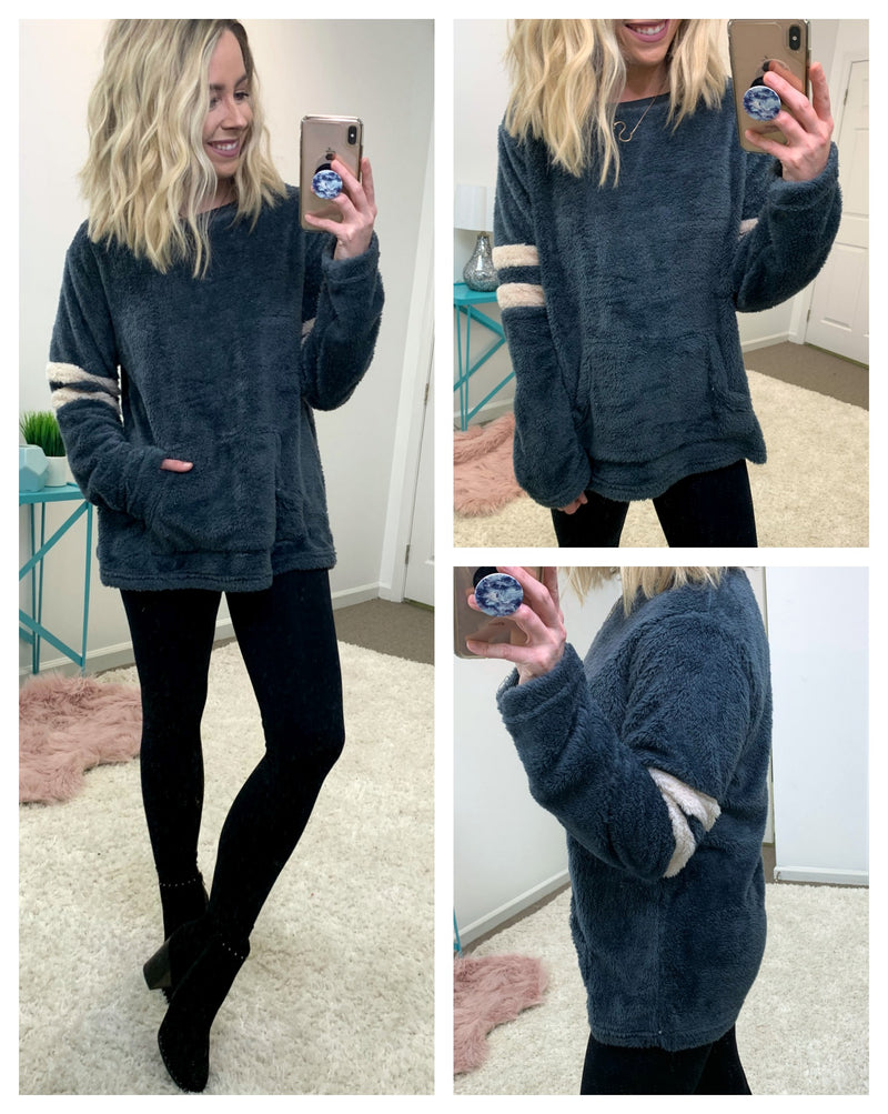 S / Charcoal Fuzzy Feels Varsity Pullover - Madison + Mallory