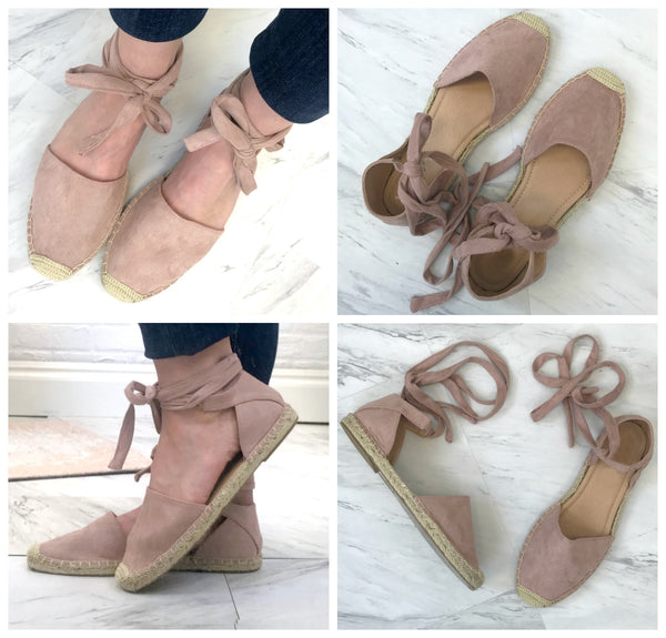 5.5 / Mauve Ankle Wrap Espadrilles - FINAL SALE - Madison + Mallory