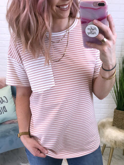 Pink / S Mixed Stripe Pocket Top - Madison + Mallory