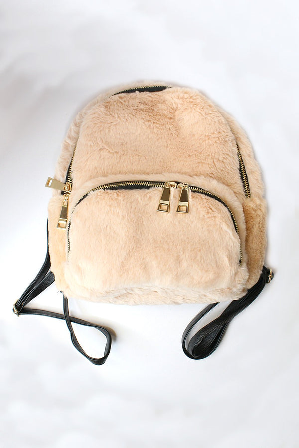 Faux Fur Gold Zip Backpack - Madison + Mallory