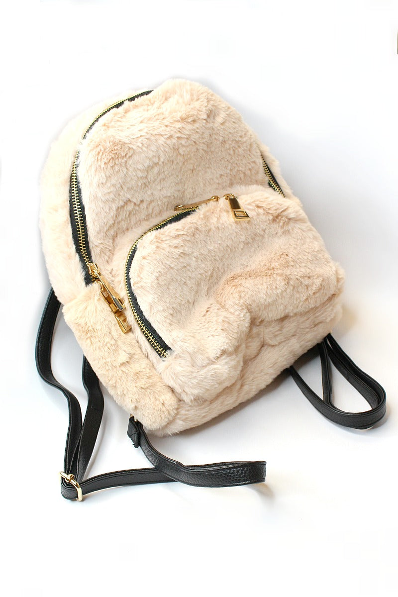 Cream Faux Fur Gold Zip Backpack - Madison + Mallory