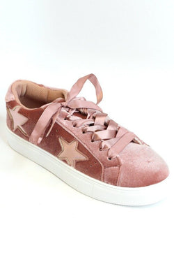 6 / Mauve Velvet Velvet Star Sneakers - Madison + Mallory