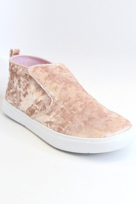 6 / Pink Velvet Sneakers - Madison + Mallory