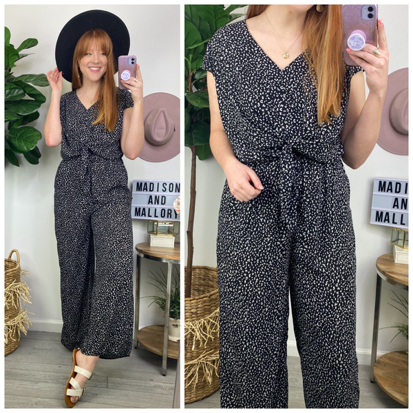 Rahway Animal Print Tie Front Jumpsuit - Madison and Mallory