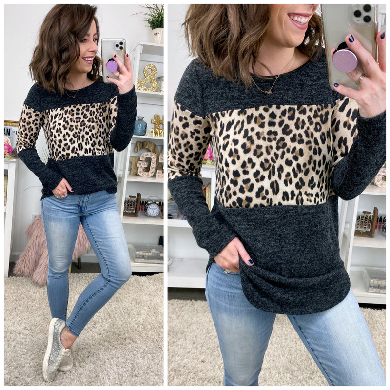Ravine Contrast Leopard Top - Madison + Mallory