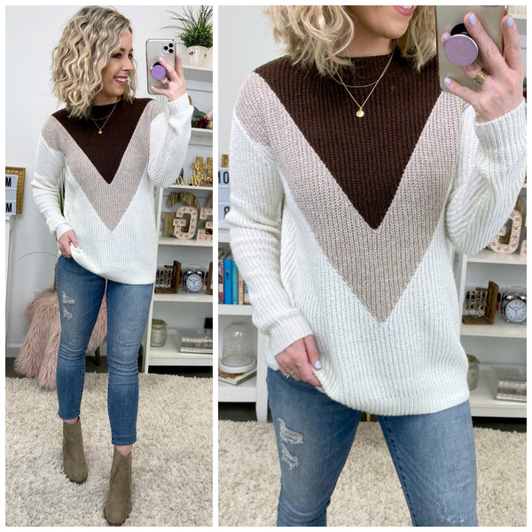 Right to You Chevron Knit Sweater - Taupe - Madison + Mallory