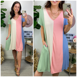 Rosado Color Block Striped Dress - Madison and Mallory