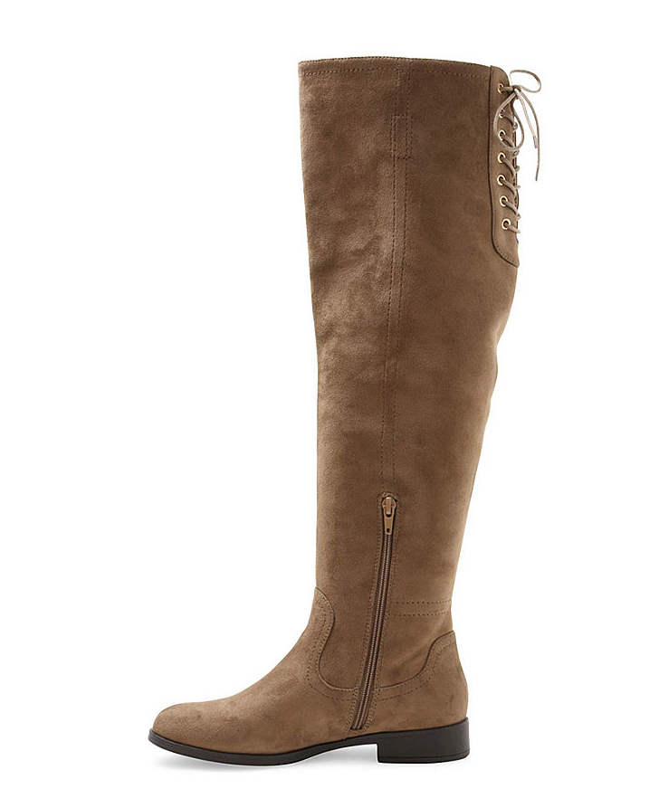 Lace Up Faux Suede Over the Knee Boots