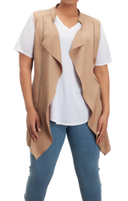 1XL / Tan Tan Zipper Detail Vest | CURVE - Madison + Mallory