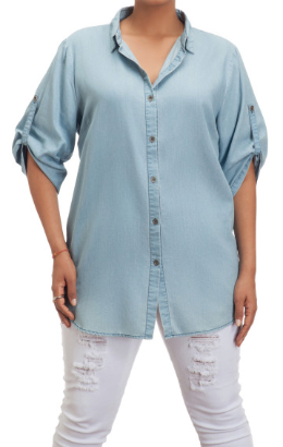1XL / Denim Denim Rolled Sleeve Button Down Top | CURVE - FINAL SALE - Madison + Mallory