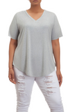 Gray V-Neck Tee | CURVE
