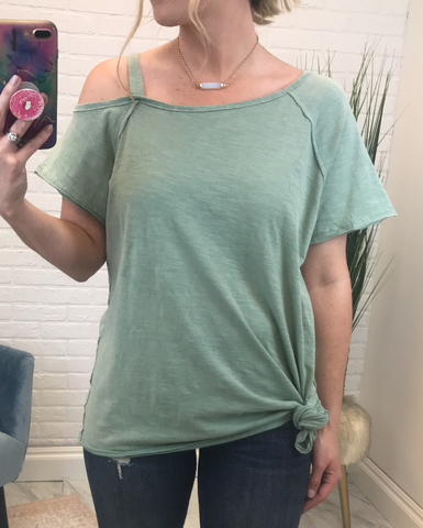 Asymmetrical Cold Shoulder Knot Top
