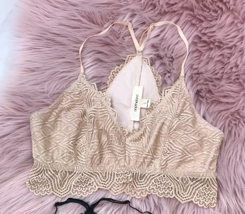 S / Nude Elle Lace Bralette - Madison + Mallory