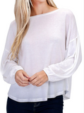 White / S Super Soft Balloon Sleeve Top - Madison + Mallory
