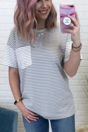 Gray / S Mixed Stripe Pocket Top - Madison + Mallory