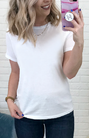 S / White Super Soft Short Sleeve Top - Madison + Mallory