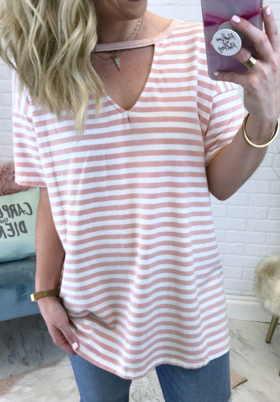 Rose / S Valerie Striped Cutout Top - Madison + Mallory