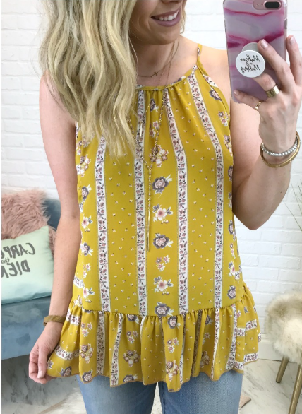Mustard / S Delaney Floral Top - Madison + Mallory