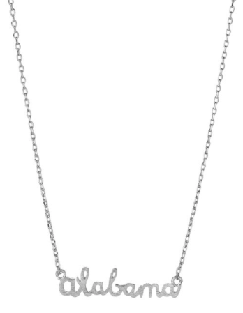 Silver Alabama Script Necklace - Madison + Mallory