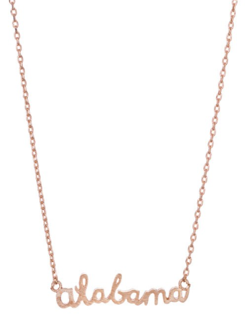 Rose Gold Alabama Script Necklace - Madison + Mallory