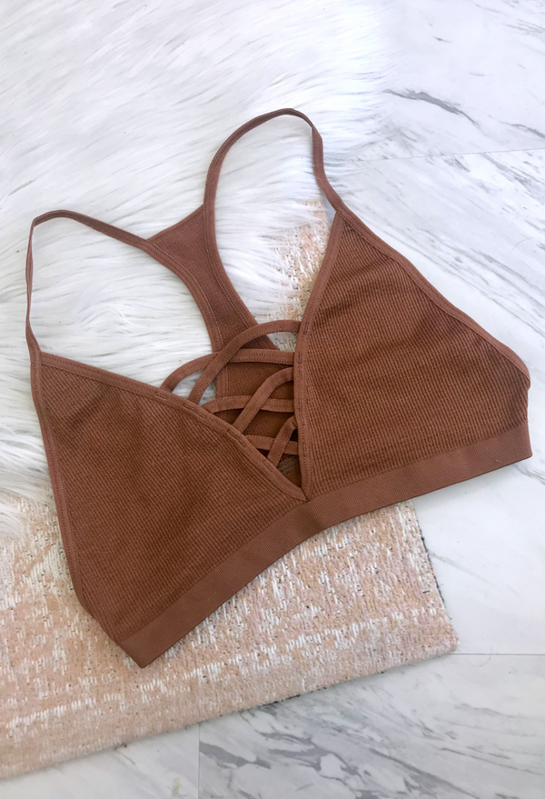 XS/S / Copper Seamless Cross Detail Bralette - FINAL SALE - Madison + Mallory
