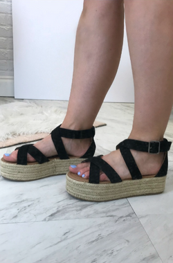 Black / 5.5 Espadrille Flatforms - FINAL SALE - Madison and Mallory