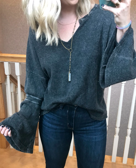 S / Charcoal Waffle Bell Sleeve Top - Madison + Mallory