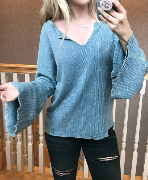 S / Blue Waffle Bell Sleeve Top - Madison + Mallory