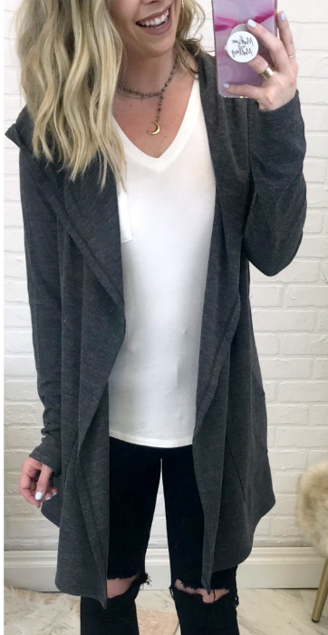 Gray / S Curling Up Hooded Cardigan - Madison + Mallory
